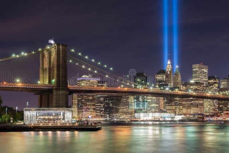Tributo en luz - 11 de septiembre imagenes de archivo