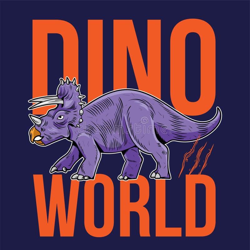 Tricératops grand dangereux dinosaure de dino illustration de vecteur