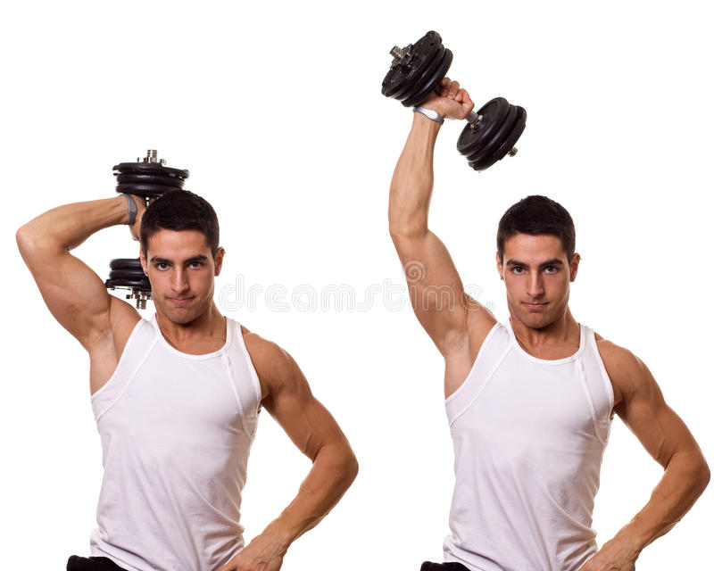 Tricep Extension. One arm tricep extension. Studio shot over white stock image