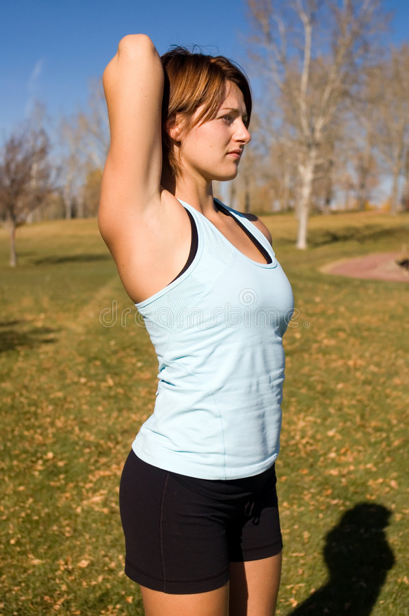 Download Tricep stretch stock image. Image of pretty, girl, beautiful - 3388187