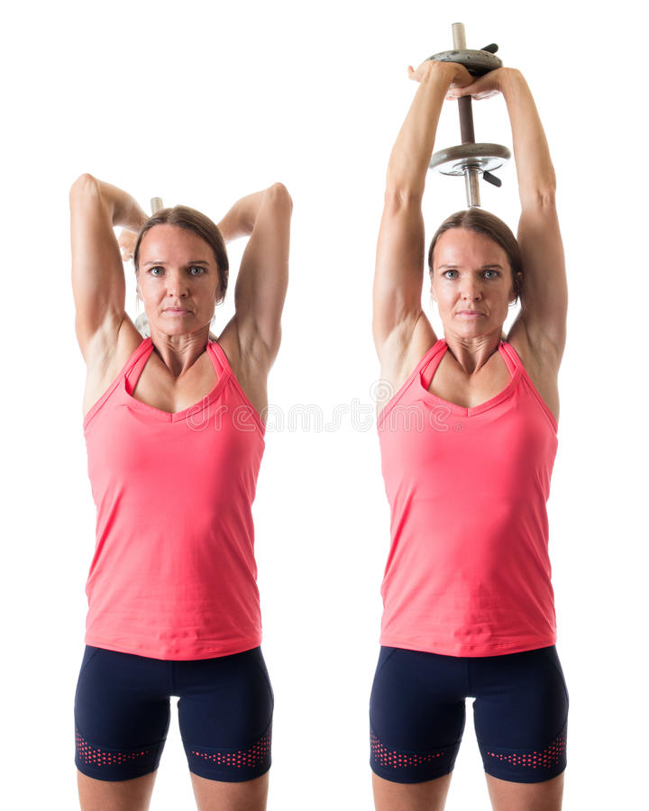 Triceps Extension. Overhead triceps extension exercise. Studio shot over white stock image
