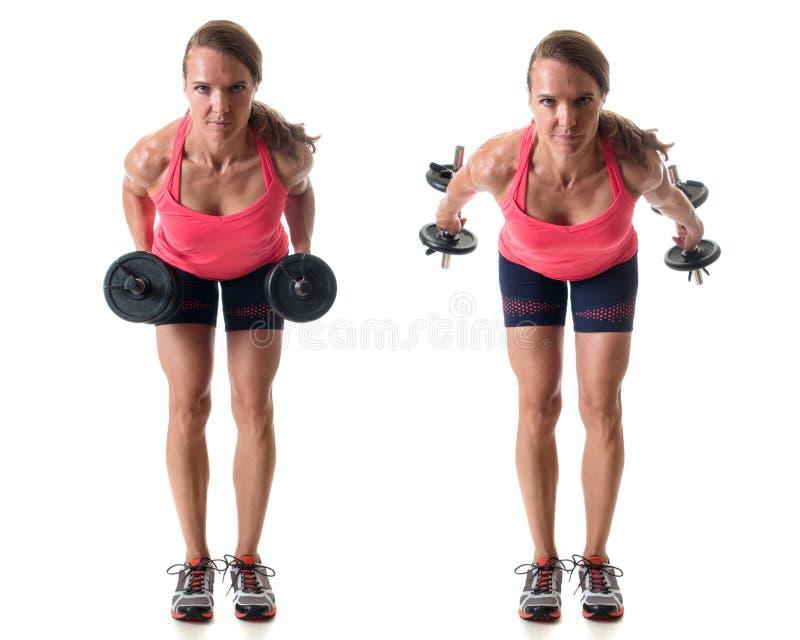 Triceps Kickback. Exercise. Studio shot over white stock photos