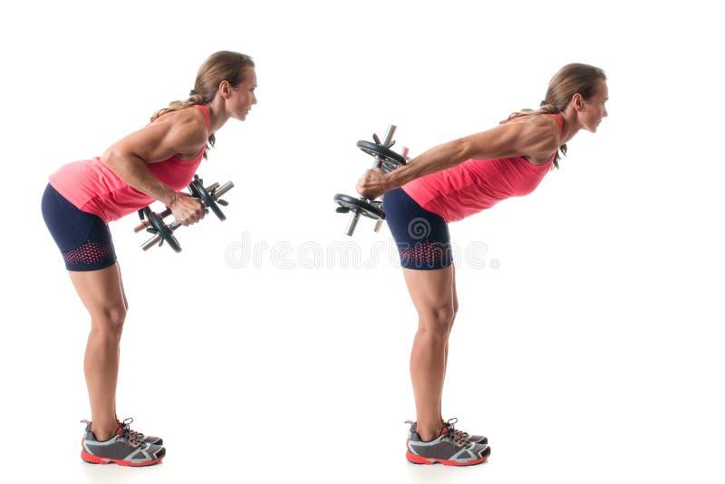 Triceps Kickback. Exercise. Studio shot over white royalty free stock photography