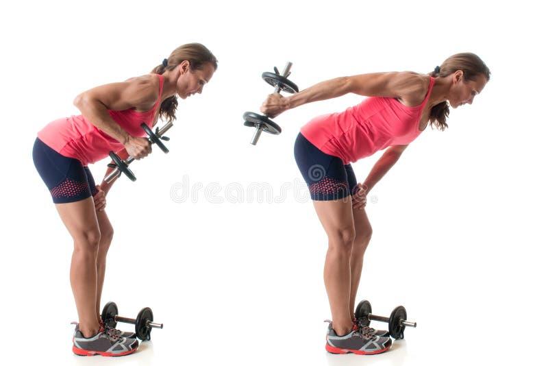 Triceps Kickback. Exercise. Studio shot over white stock image