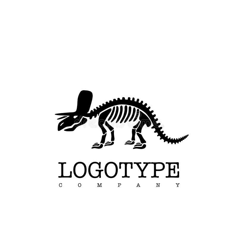 Triceratopo di scheletro del dinosauro del logotype di vettore isolato su fondo bianco illustrazione vettoriale
