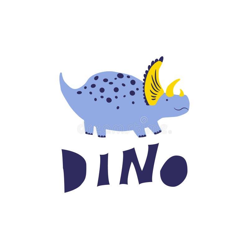 Triceratops azul lindo del dinosaurio stock de ilustración