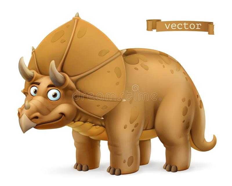 Triceratops, ceratopsid dinosaur cartoon character. Funny animal 3d vector icon stock illustration