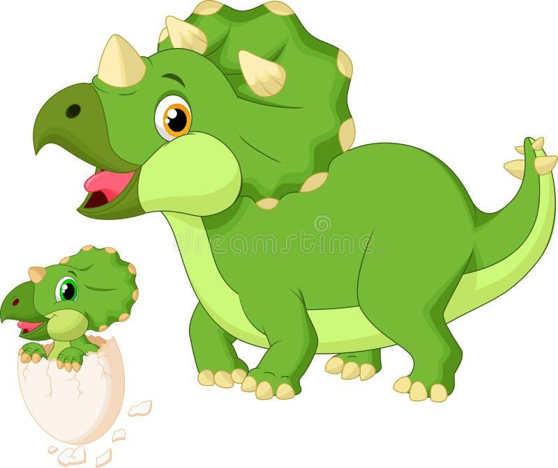 Triceratops da mãe dos desenhos animados com choque do bebê ilustração do vetor