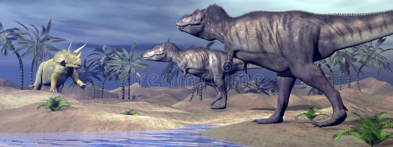 Triceratops de ataque do tiranossauro - 3D rendem ilustração stock