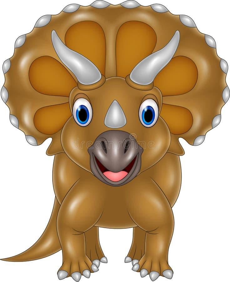 Triceratops de bande dessinée d'isolement sur le fond blanc illustration de vecteur
