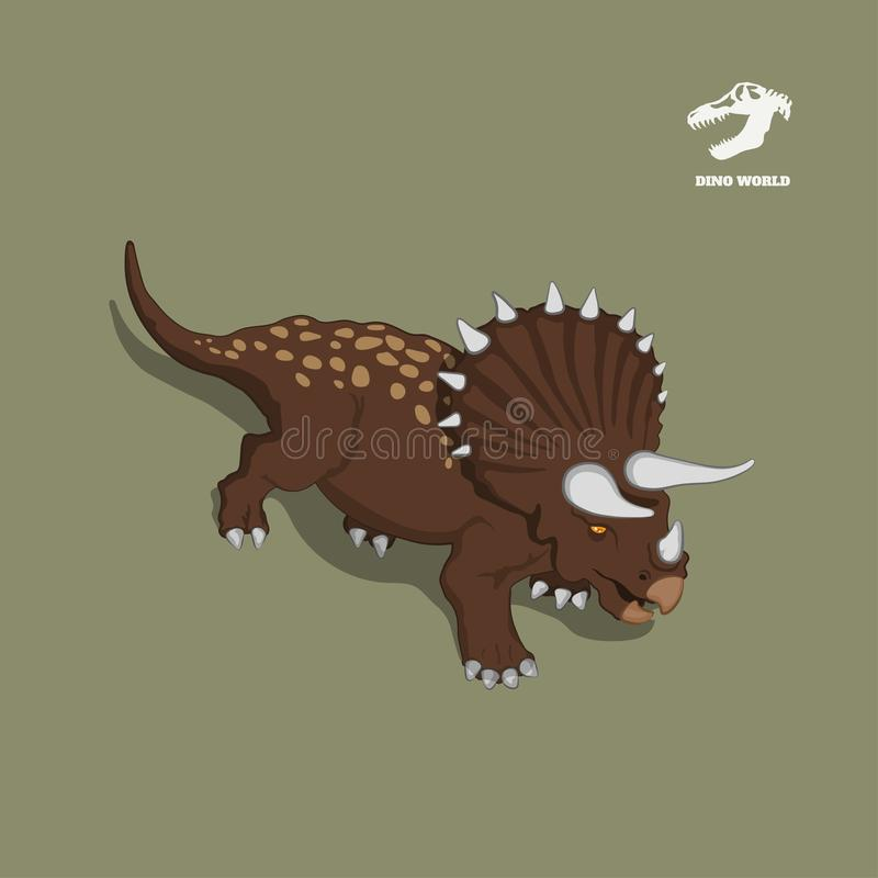 Triceratops de dinosaure dans le style isométrique Image d'isolement de monstre jurassique Icône de Dino 3d de bande dessinée illustration libre de droits