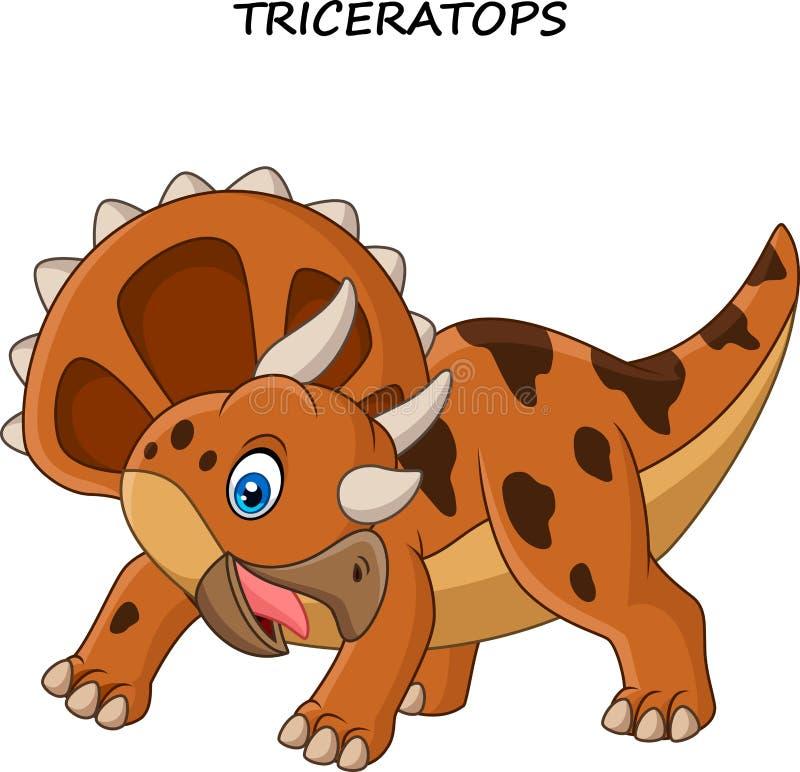Triceratops de la historieta aislado en el fondo blanco stock de ilustración