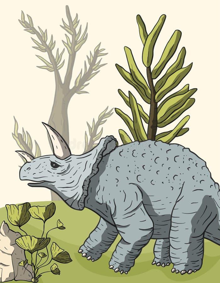 Triceratops del dinosaurio en su hábitat ilustración del vector