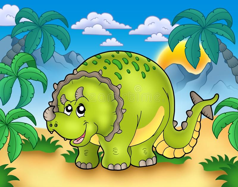Triceratops del fumetto nel paesaggio illustrazione vettoriale