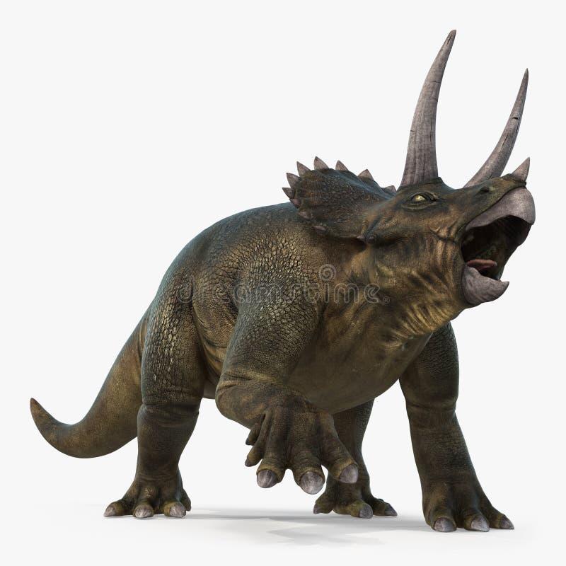 Triceratops dinosaur on bright background. 3D illustration. Triceratops dinosaur on white background. 3D illustration stock illustration