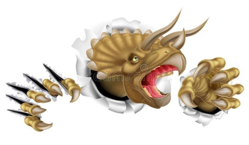 Triceratops Dinosaur Claws Ripping stock illustration