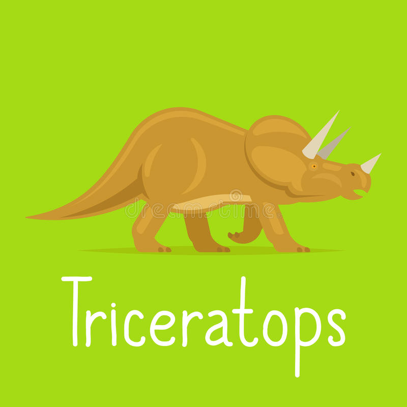 Triceratops dinosaur colorful card. For kids playing vector illustration vector illustration