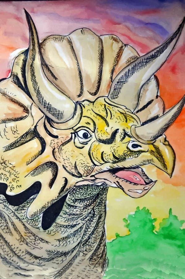 triceratops dinosaur Stående Måla den våta vattenfärgen på papper Lättrogen konst Teckningsvattenfärg på papper vektor illustrationer