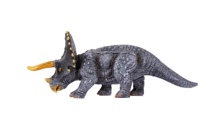 Triceratops. Dinosaur Toy Triceratops, isolated at white background royalty free stock image