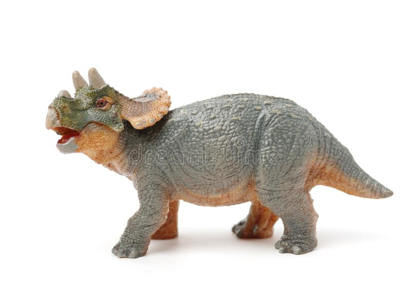Triceratops dinosaur toy. Isolate on a white background stock images