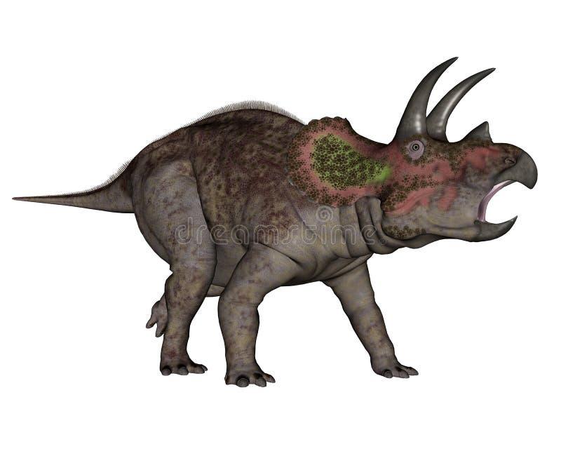 Triceratops dinosaur walking - 3D render. Triceratops dinosaur walking in white background- 3D render vector illustration