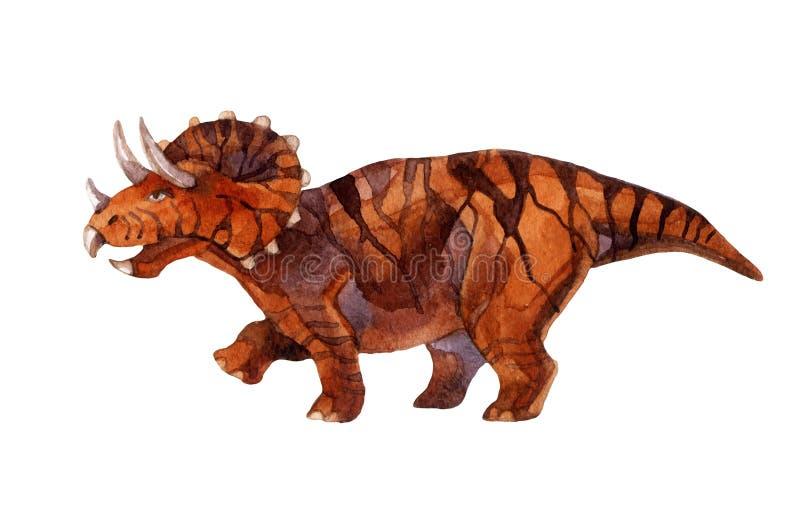 Triceratops do dinossauro isolado no fundo branco ilustração do vetor