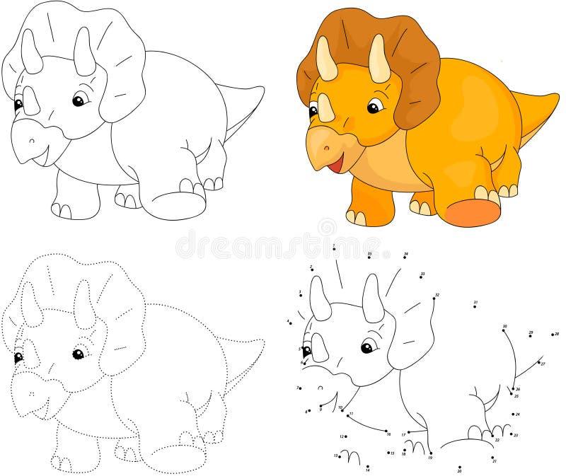 Triceratops dos desenhos animados Ilustração do vetor Ponto para pontilhar o jogo para o ki ilustração royalty free