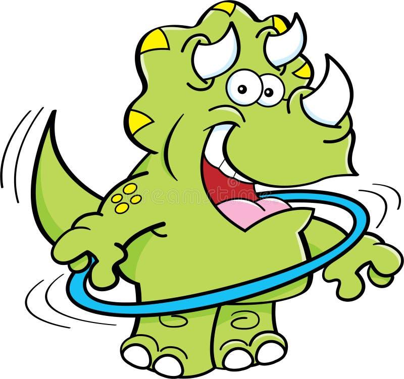 Triceratops dos desenhos animados que joga com uma aro ilustração royalty free