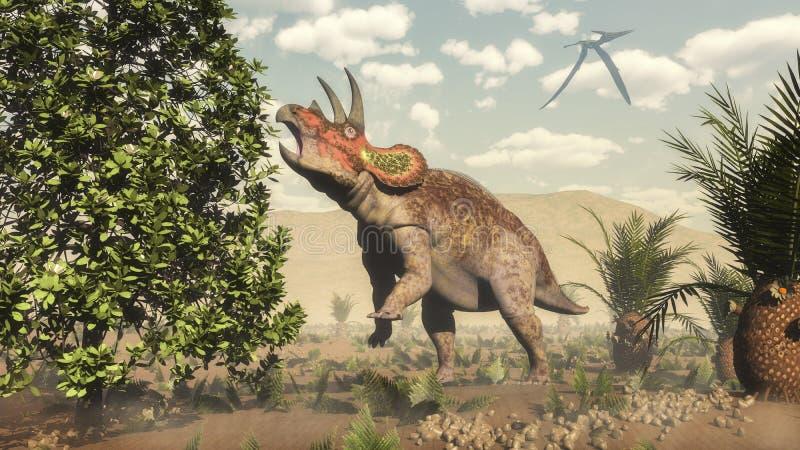 Triceratops eating at magnolia tree - 3D render stock illustration