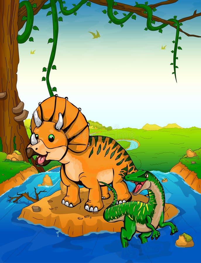 Triceratops en el fondo de una cascada ilustración del vector