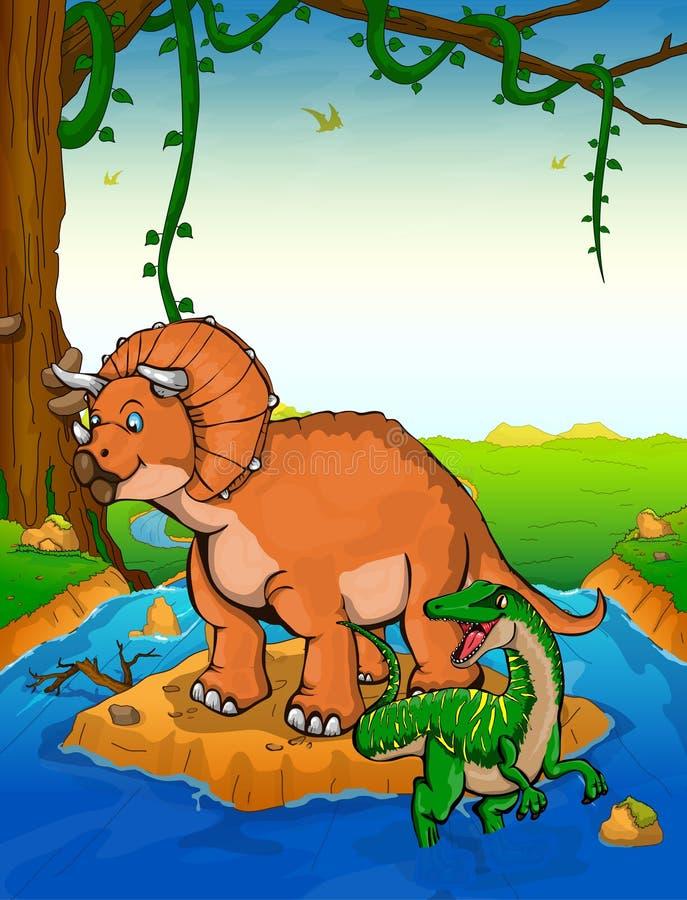Triceratops en el fondo de una cascada libre illustration