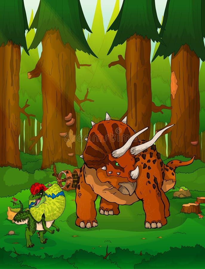 Triceratops en el fondo del bosque ilustración del vector