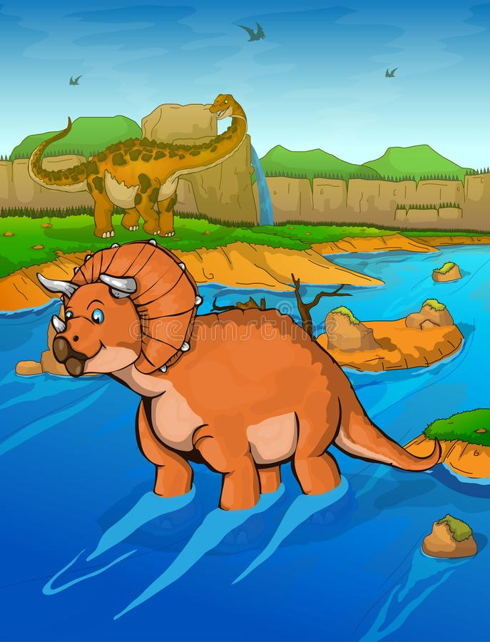 Triceratops en el fondo del río stock de ilustración