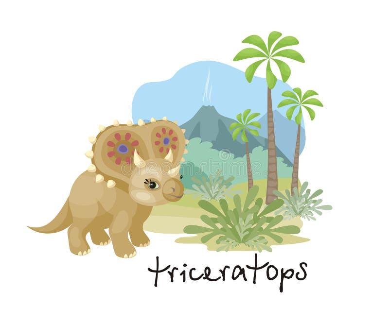 Triceratops en estilo de la historieta stock de ilustración