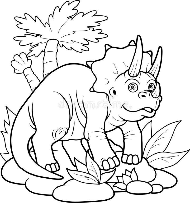 Triceratops en un paseo libre illustration