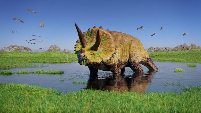 Triceratops horridus dinosaur i kierdel pterozaury od Jurajskich ery łasowania rośliien wodnych w pięknym krajobrazie zdjęcie royalty free
