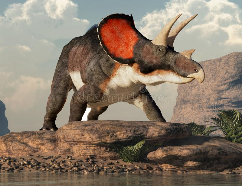 Triceratops by a Lake. Triceratops was ceratopsian dinosaur that was a frilled and horned, four legged animal. It lived during the cretaceous period. On a rock stock illustration