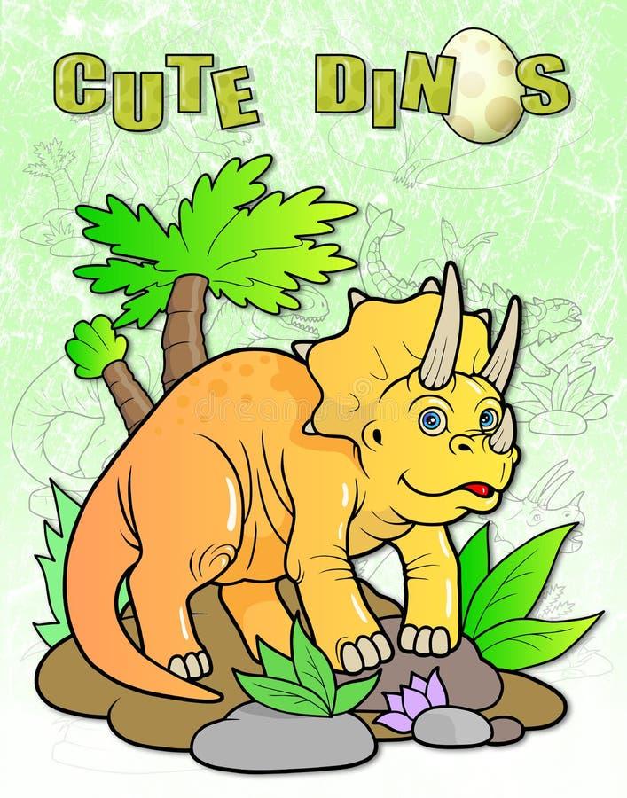 Triceratops lindo en un paseo stock de ilustración