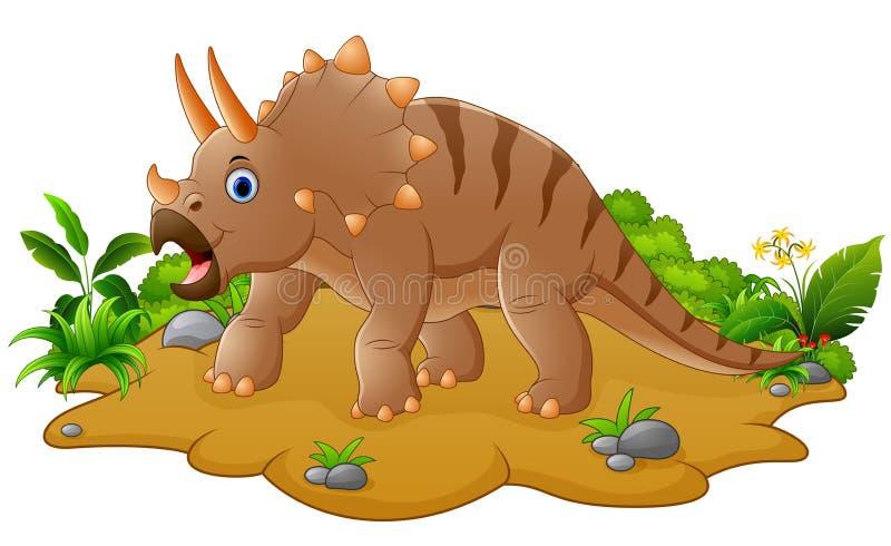 Triceratops lindo y joven de la historieta stock de ilustración