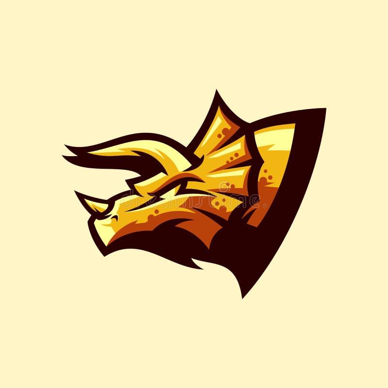 Triceratops logo projekt gotowy używać royalty ilustracja