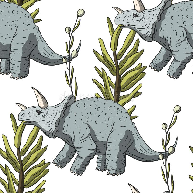 Triceratops naadloos patroon stock illustratie