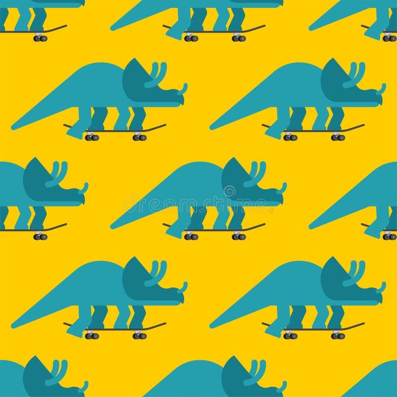 Triceratops no teste padrão do skate sem emenda Fundo de Dino Skateboarder Longboard pré-histórico da equitação do monstro do lag ilustração royalty free