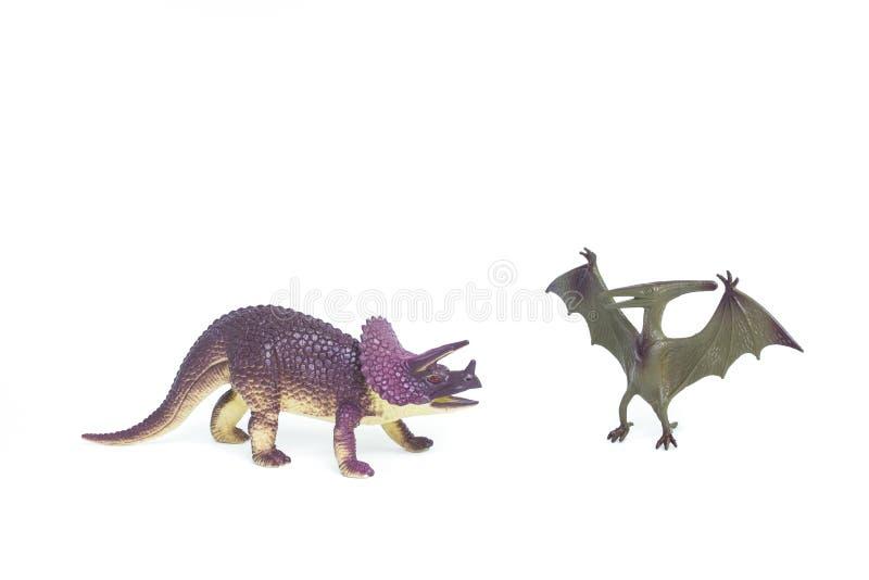 Triceratops- och Pterosaur dinosaurieleksak royaltyfria bilder