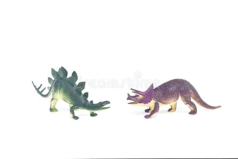 Triceratops- och Stegosaurusdinosaurieleksak royaltyfri foto