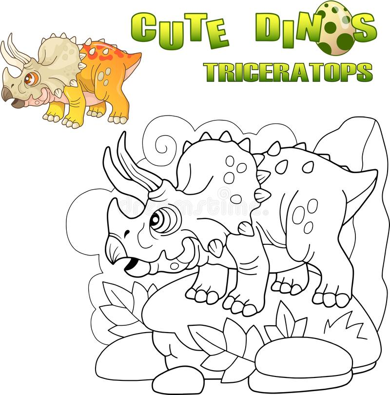 Triceratops pré-histórico bonito do dinossauro, ilustração engraçada ilustração royalty free
