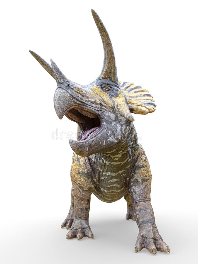 Triceratops standing up on white background royalty free illustration