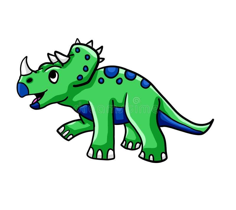 Triceratops verde adorable ilustración del vector