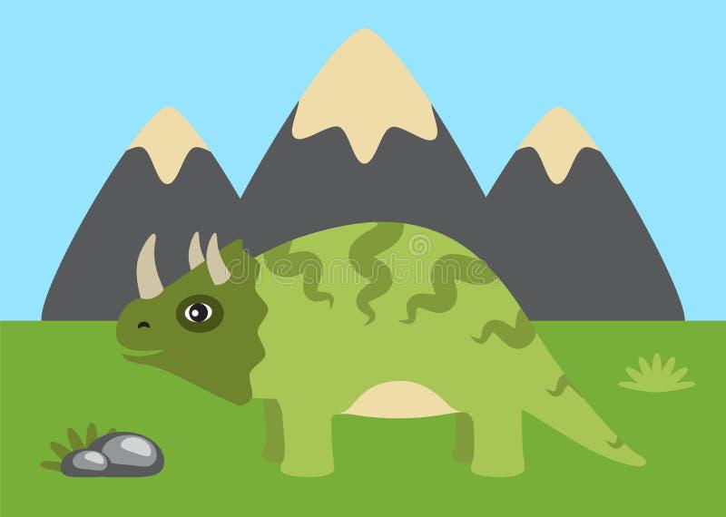 Triceratops y ejemplo salvaje del vector de la naturaleza ilustración del vector