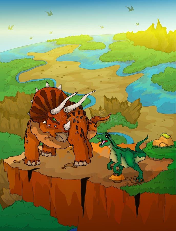 Triceratops y rapaz con el fondo del paisaje stock de ilustración