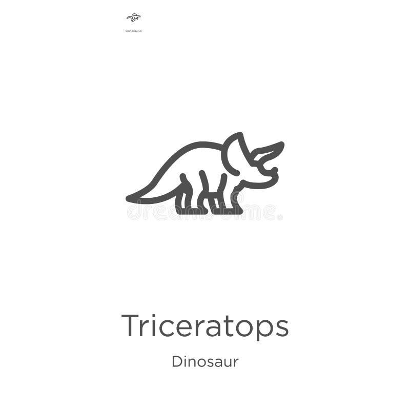 Triceratopsikonenvektor von der Dinosauriersammlung Dünne Linie Triceratopsentwurfsikonen-Vektorillustration Entwurf, dünne Linie vektor abbildung